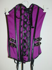 Fredericks of Hollywood purple shiny black corset lace up back buckles-S-NWT