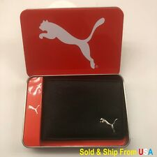 PUMA MENS BLACK BIFOLD PASSCASE BILLHOLD SYNTACTIC LEATHER WALLET NIB