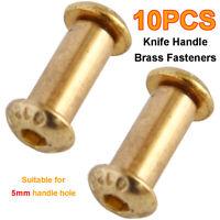 10* Brass Knife Handle Rivets Pins Knife Fasteting Screws Lock Bolts Hexagon EBS