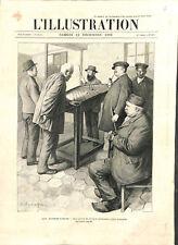 Hôpital des Quinze-Vingts partie de billard hollandais des aveugles GRAVURE 1903