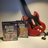 PlayStation 2 RedOctane Wired SG Controller W/ 2 Guitar Hero Games
