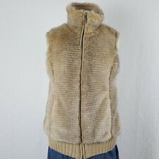 Fuda Womens Vest Knit Sweater Back Faux Fur Front Tan Brown Lined Size Medium