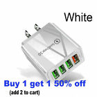 White US 4 Port Fast Quick Charge QC 3.0 USB Hub Wall Charger Power Adapter