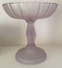 Compote Tree of Life Glass Hand Pattern Pedestal Bowl EAPG  c1879 Purple Tint