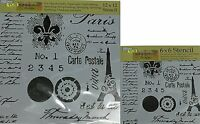 """The Crafter's Workshop Set of 2 Stencils Carte Postale 12x12"""" Large & 6x6"""" Mini"""