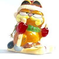 Vintage Enesco Garfield Christmas Holiday Ornament Ski Snow 1978 1981 Ceramic
