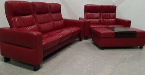 Ekornes Stressless Wave 3 & 2 seater recliner leather sofas & ottoman 0210215