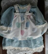 Vintage Blue Country Cotton Doll DressApron Pinafore Eyelet Lace Trim Large