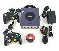Nintendo GameCube Indigo Console System Bundle 2 Controllers Black Spiderman 2