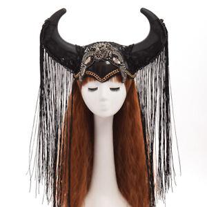 Gothic Black Ox Horn Hat Halloween Cosplay Headwear Hat Show Girl Headdress