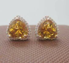 9x9mm Heart Cut Natural Citrine 14K 585 Rose Gold Natural Diamond Earrings