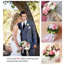 Fairy Bridal Wedding Bouquet Silk Flower Handmade Crystal Bridesmaid Foam Brooch