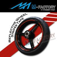 "Red Reflective Rim 17"" Wheel Decals Tape For Honda Yamaha Suzuki Kawasaki"