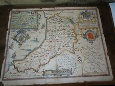1610 LARGE COLOUR MAP OF CARDIGAN SHYRE by JOHN SPEED CARDIGANSHIRE WALES SPEEDE