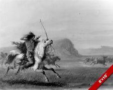 NATIVE AMERICAN INDIAN HUNTING ELK ON HORSEBACK PAINTING ART REAL CANVAS PRINT