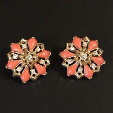 Vintage Crown Trifari Queen Anne Orange Coral Thermoset Rhinestone Earrings