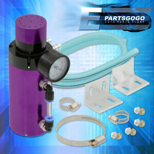 For Chevy Aluminum Performance Racing Oil Catch Can Tank Breather Gauge Purple