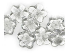Crystal Flower Cups Czech Pressed Glass Beads 14mm  (pack of 10)
