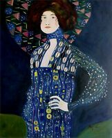 Gustav Klimt Emile Floge Repro, Hand painted Oil Painting 20x24in