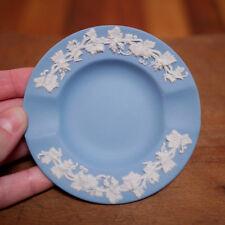 Vintage Wedgwood Jasperware Grapevine Porcelain Blue Embossed Ashtray 3.5� Round
