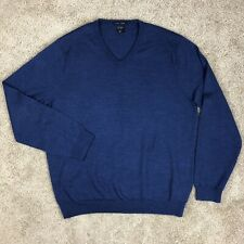 J Crew Italian Merino Wool Mens XL Navy Blue V Neck Sweater