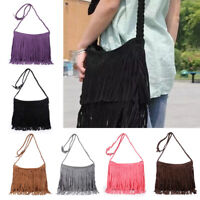Womens Ladies Fringe Messenger Shoulder Tassel Bag Handbag Crossbody Bag UK