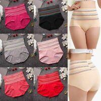 1pc Fashion Women Colorful Stripe High Waist Slimming Cotton Panties Underwear t