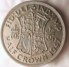 1947 GREAT BRITAIN 1/2 CROWN - Less Common Date - Britain Half Crown Bin