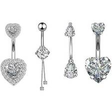 14G Double Heart CZ  Dangle Belly Button Ring Surgical Steel Piercing Navel Bar