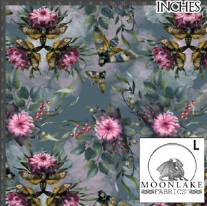 Gothic Moths Skulls and Flowers 100% Quality Cotton Poplin Fabric *Exclusive*