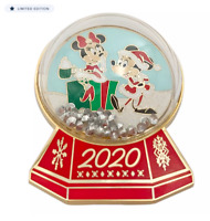 Disney Mickey and Minnie Mouse Christmas Holiday 2020 Snow Globe Pin NEW
