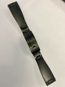Everest Curved End BLACK Rubber Deployment STRAP & CLASP fit Rolex Sport Models