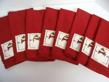 Lot of 8 Christmas Snowman Linen Napkins Embroidered Burgandy