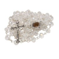 Rosary Beads with INRI White Crystal Beaded from Jerusalem the Holy Land 20.5""