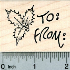 Holly Gift Tag Rubber Stamp, Christmas Series H31318 WM