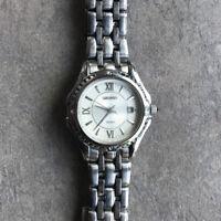 Seiko 7N82-0GE0 Women's Watch Stainless Steel Silver Tone Date New Battery Bin K