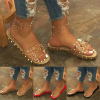 Women's Fashion Transparent Ankle Strap Sandals Slip On Open Toe Slipper Shoes
