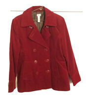 Woman's Red Corduroy Blazer Jacket Heavy Lined L Large Button Red