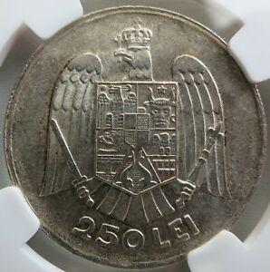 ROMANIA silver 250 lei 1935 NGC MS 61 UNC Carol II Scarce