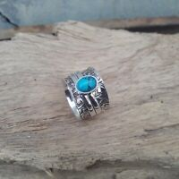 Turquoise Ring Solid 925 Sterling Silver Spinner Ring Meditation Ring Size V904