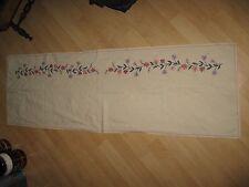 Needlepoint Table Runner - Vintage 1950's Linen Embroidered Floral Dresser 60X19