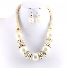Silver and Cream Colored Beaded Collar FASHION Necklace Set