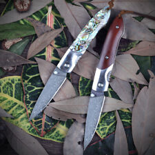 Ebony Wood Abalone Folding Knife Damacus Steel Hunting Pocket Tactical Knife