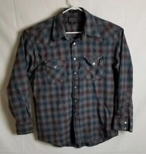 Pendleton Wool Western Pearl Snap Canyon Shirt Navy Gray Burgandy Mens Large