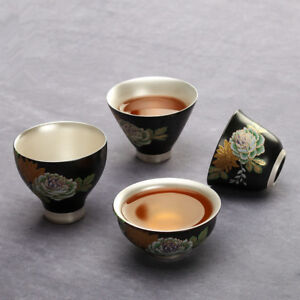 silver cup flower relief cup of tea Chinese porcelain cup 999 sterling silver