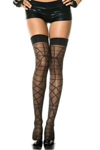 Black Woven Sheer Spiderweb Thigh High Stocking O/S New Halloween