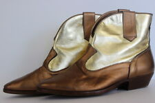 SBICCA Women's Short Ankle Boots Slip-on Gold Coppertone Leather Rubber Sole 8M