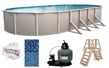 "Above Ground 15'x30'x48"" Oval Impression Swimming Pool w/ Liner, Ladder & Filter"