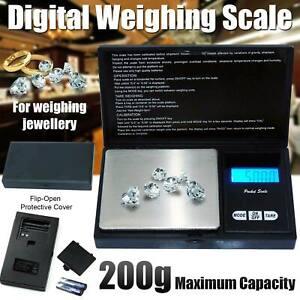 200g Jewelry Gram Digital Scale Silver Gold Coin Milligram Pocket Size Grain UK