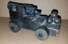 Vintage Cast Metal Miniature Replica Canon Black / Wood Base